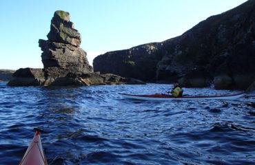 Sea kayaking at a Sea Stack
