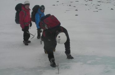 Using ice axe and crampons