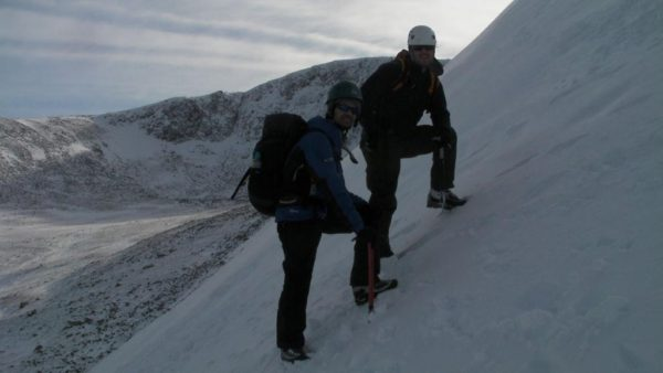 winter mountaineering scotland steep ground