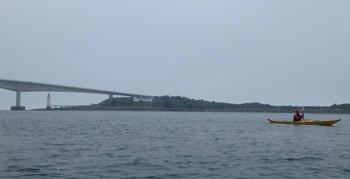 Skye Bridge sea kayaking mist