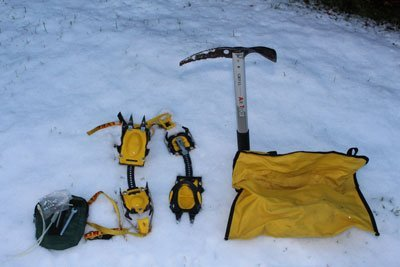 ice axe and crampons