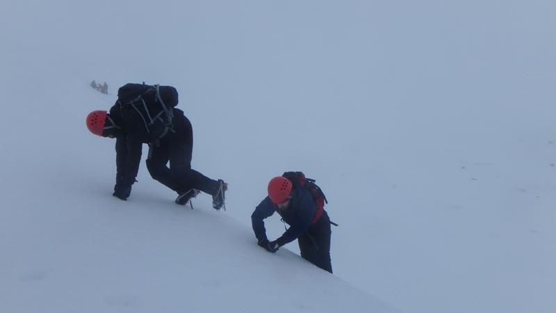 ascending steep ground