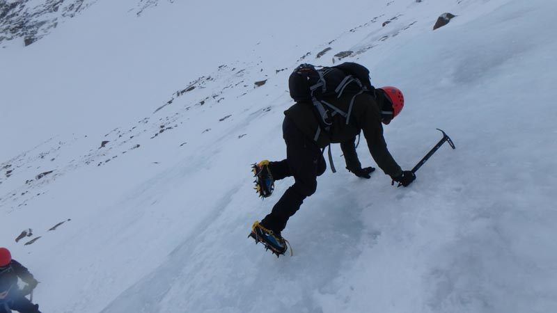 Crampons on ice
