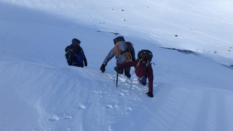 Steep ground on Winter Mountaineering Course