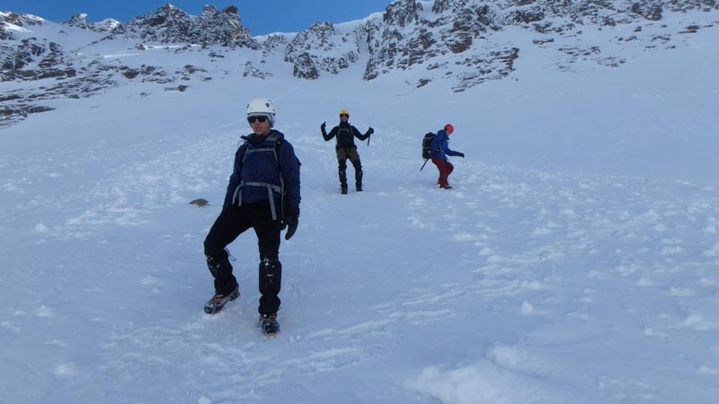 going downhill with crampons