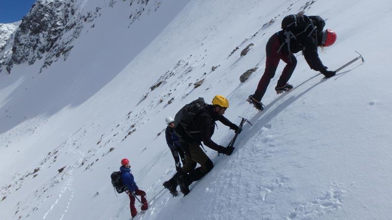 climbing up ice
